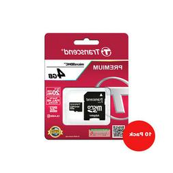 10 x Transcend 4GB MicroSD HC Memory Card + Adapter for Andr
