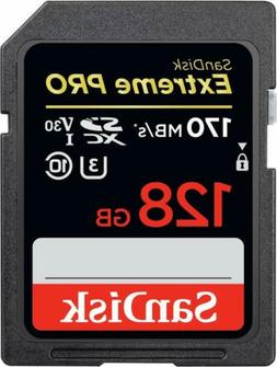 SanDisk 128GB Class 10 Extreme Pro UHS-I U3 SD card 170MB/s