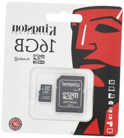 Kingston 16 GB Class 4 MicroSDHC Flash Card with SD Adapter