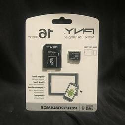 PNY 16gb Micro SD HC Memory Card with SD Adapter | P-SDU164-