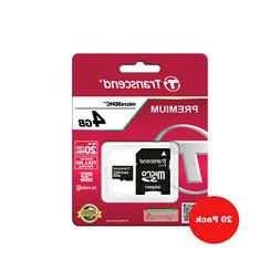 20 Transcend 4GB MicroSD HC Memory Card + Adapter for Camera
