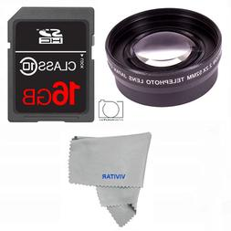 58MM 2X OPTICAL TELEPHOTO LENS + 16GB SD CARD FOR CANON REBE