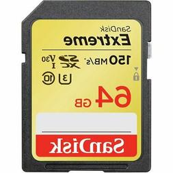 SanDisk 64GB Class 10 Extreme UHS-I U3 SD card 150MB/s Full