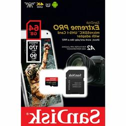 SanDisk Extreme PRO microSDXC Memory Card Plus SD Adapter up
