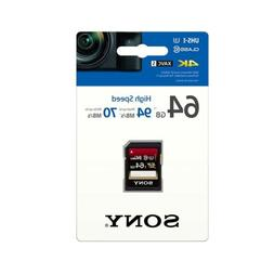 Sony 64GB SDXC Class 10 U3 High Speed Memory SD Card 4K Read