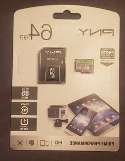 Brand new: PNY 64GB Micro SD Card w/ SD Adapter Prime Perfor