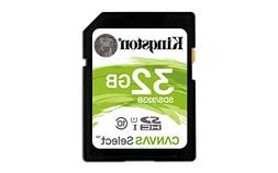 Kingston Canvas Select 32GB SDHC Class 10 SD Memory Card UHS