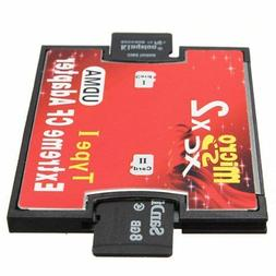 Dual 2 port Micro SD SDHC to Compact Flash CF 1 Type I Card