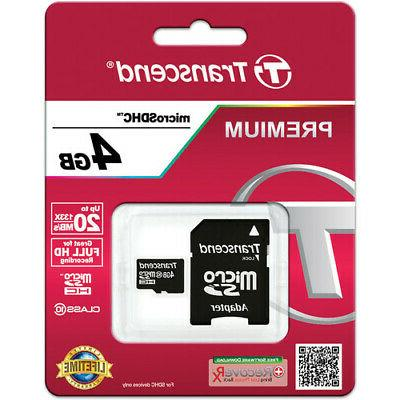 Transcend 4GB Micro SD SDHC Memory Card + Adapter for Tablet