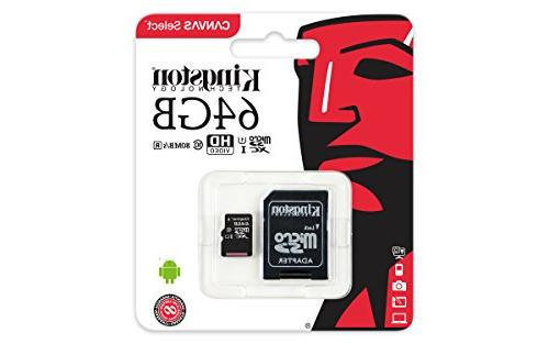 Kingston Canvas Select microSDHC Memory UHS-I R Memory with Adapter