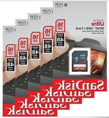 Lot 5 x SanDisk Ultra 16GB 16G SD SDHC Class 10 48MB/s Secur
