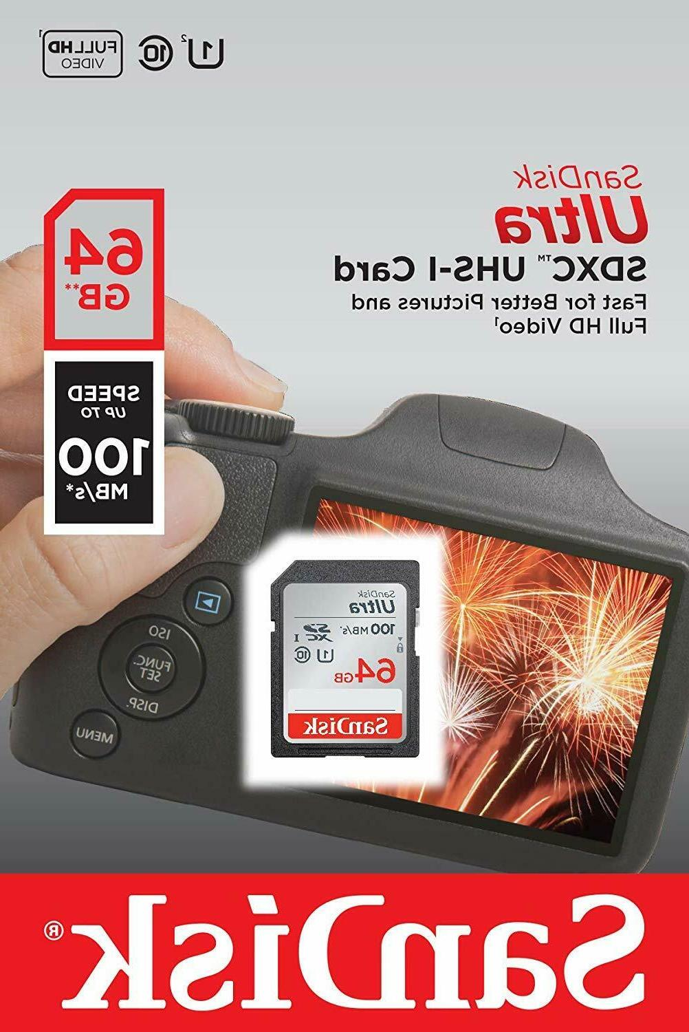 Sandisk SD 64GB 256GB Ultra Memory for Cannon, Nikon Sony