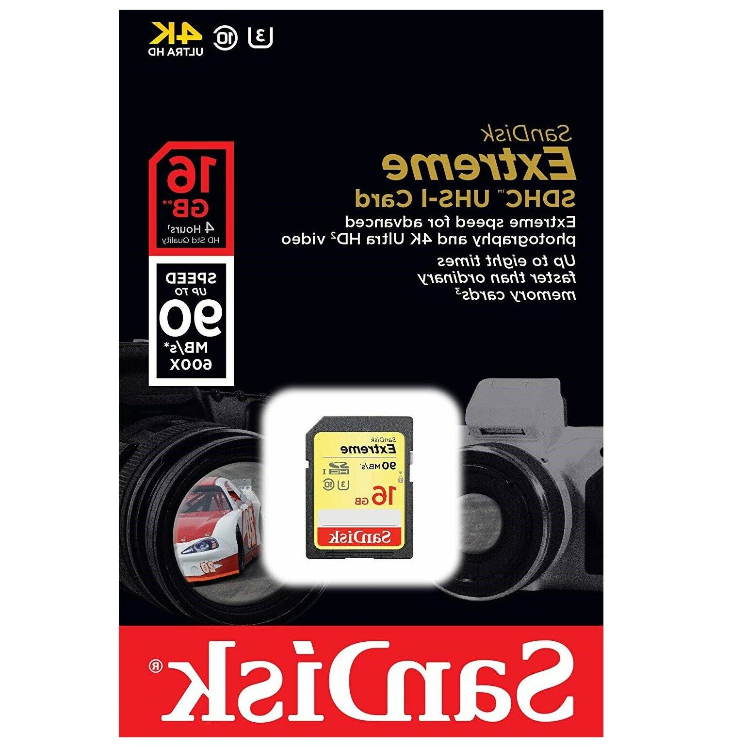 Sandisk Extreme Memory Cards 16GB 32GB 64GB for Cannon, Kodak