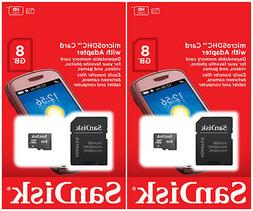 Lot of 2 SanDisk 8GB CLASS 4 micro SD SDHC Flash Memory Card