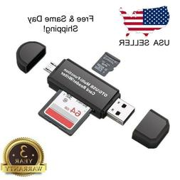Micro USB OTG to USB 2.0 Adapter SD/Micro SD Card with stand