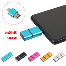 New Type C To USB 2.0 Micro SD TF Card Reader Adapter with O